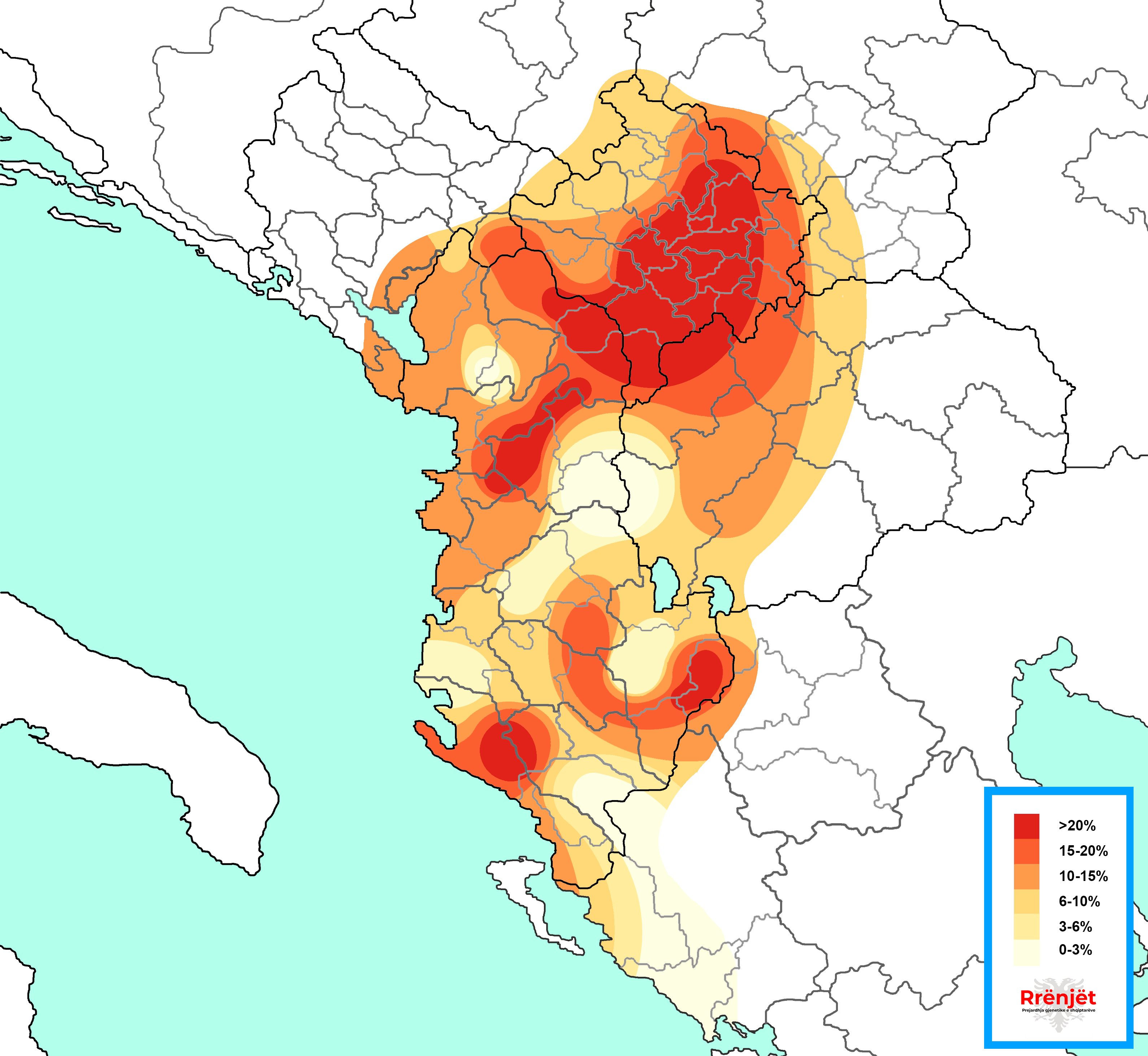 Harta e R-CTS9219 ndër shqiptarë (Map of R-CTS9219 among Albanians).