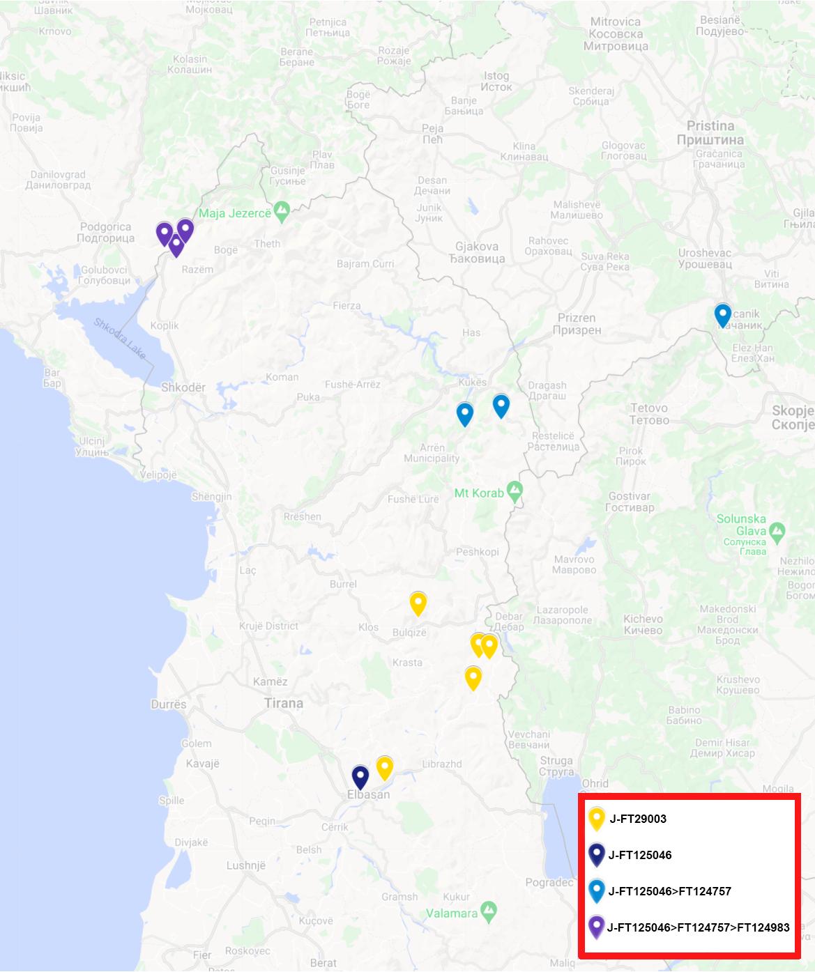 Harta e J-Y21878 ndër shqiptarë (J-Y21878 among Albanians)